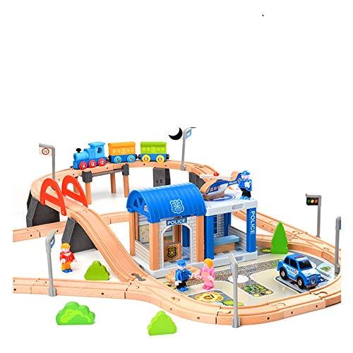 Train en bois pour enfants - Train avec rails - 90 pièces - Police - Combinable - Train en bois - Pour enfants