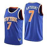 Dybory Jersey para Hombre New York Knicks # 7 Carmelo Anthony, Unisex Retro Sin Mangas, Transpirable Secado Rápido Baloncesto Gimnasio Chaleco Camiseta Deportiva,Azul,L
