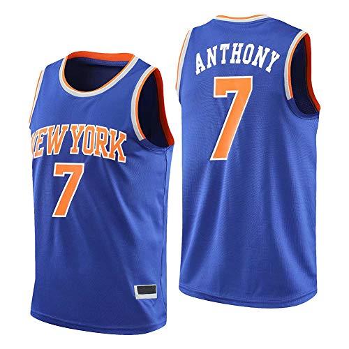 Maglia da Uomo New York Knicks # 7 Carmelo Anthony, Unisex retrò Senza Maniche Traspirante Canotta Sportiva da Palestra Ad Asciugatura Rapida,Blu,XXL