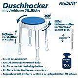 Rollafit Duschhocker rund höhenverstellbar um 360 Grad drehbar belastbar bis 150 kg - 3