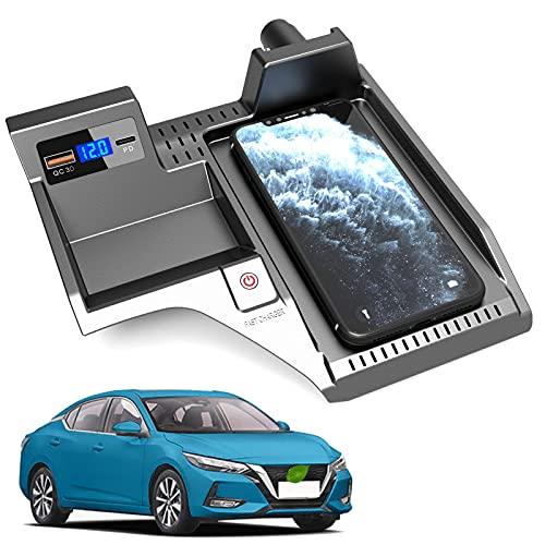 JUSTGJS Cargador inalámbrico para Coche Compatible con Nissan Sentra B18 2020 2021 Panel de Accesorios de Consola Central, Qi 15W MAX, con QC3.0 USB Compatible con iPhone, Samsung, Puerto USB