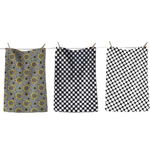 Shes Chic Bee Sunflower Dish Towels, Kitchen Drying Dishcloths 100% Cotton Cute Bumblebee Polka Dot Buffalo Checkered Plaid Printed Woven with Hanging Loop, 26 by 18 Inches, Gray Black Yellow White