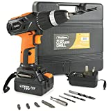 VonHaus 18V Lithium-Ion Cordless Drill Driver wtih Battery - Fast Charge, Built in Spirit Level & LED Light with 13 Accessories Drill Bits + Carry Case