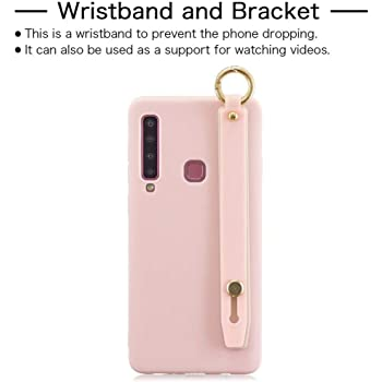 FlipBird Galaxy A9 2018 Silicone Case, Slim Fit Rubber Gel Anti-Scratch Protective Phone Case Non Slip Grip Wrist Strap Stand Holder Cover for Samsung Galaxy A9 2018 Rose Gold