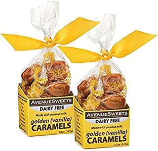 AvenueSweets - Handcrafted Dairy Free Vegan Individually Wrapped Soft Caramels - 2 x 5.2 oz Boxes - Vanilla
