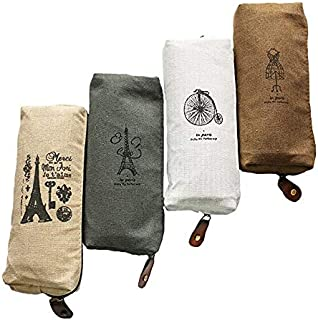 iToolai Canvas Pencil Case Retro Bag Zipper Effel Tower Travel Pouch for Back to School Student (Pack of 4, Paris)
