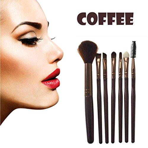 Gaddrt 7Pcs Brosse à paupières de Maquillage de Silicone Pinceau Brosse mélange Outil (Café)