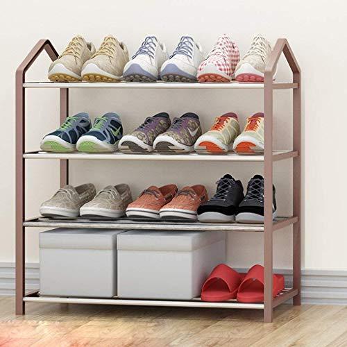 Zapatero Brown Zapatero plástico de Acero Inoxidable de Zapatos de Almacenamiento de Cajas de 4 Niveles Soporte de Almacenamiento Tiene Capacidad for hasta 15 Pares Ahorra Espacio, fácil de Montar