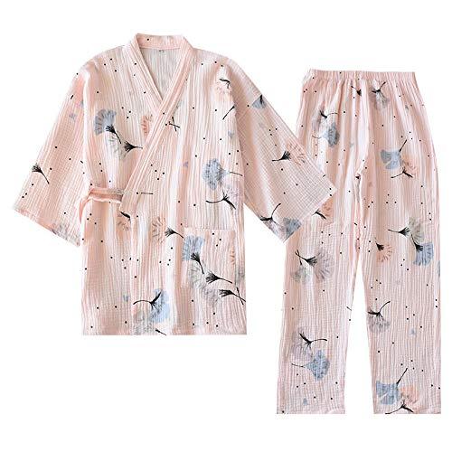 Lente En Zomer Puur Katoenen Garen Kimono Pyjama V-Hals Bedrukken Grote Maten Loungewear Dames 2-Delige Nachtkleding
