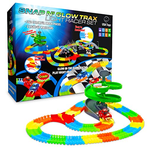 USA Toyz Glow Race Tracks for Boys or Girls - 360pk Glow in The Dark Flexible Rainbow Race Track Set w/ 2 Light Up Toy Cars and Ramp Set