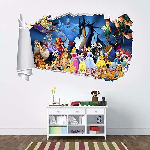 Pegatinas de pared Anime de dibujos animados Agujero rasgado Etiqueta de la pared rasgada Decoración Calcomanía Arte Niños Póster Arte 3D Mural 50x70cm