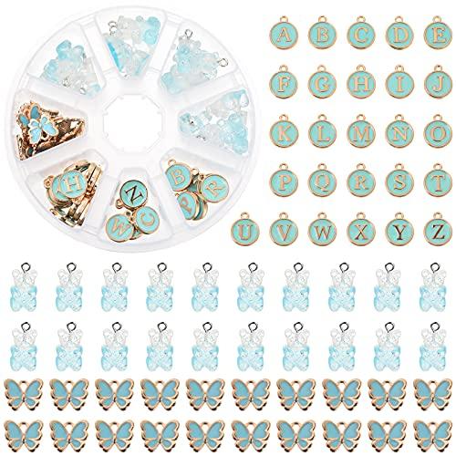MJARTORIA Set di 66 ciondoli a forma di farfalla con ciondolo a forma di orso a forma di lettere da A a Z, per orecchini, bracciali, collane e portachiavi con scatola (blu)