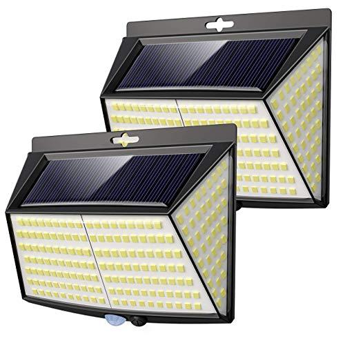 Vighep Solarleuchten für außen, 【2 Stück 228 LED】3 Modi 270° superhelle solarlampen für außen mit bewegungsmelder solarlampen IP65 wasserdichte solar aussenleuchte mit bewegungsmelder