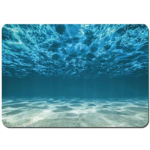 Oforp Non-Slip Bath Mat Kieselboden wellige Oberfläche Tropische Seelandschaft Abgrund Unterwasser sonniger Tag Bild Shower Mat Bathroom Anti Slip Mat(75cmx45cm)