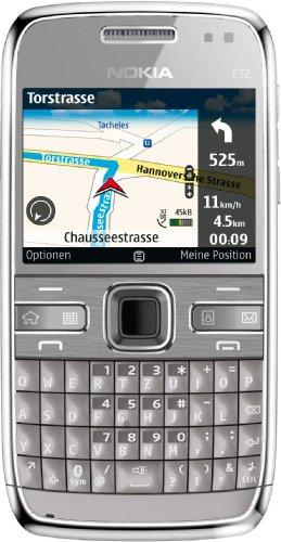 Nokia E72 Navi Smartphone (5,8 cm (2,3 Zoll) Display, Bluetooth, 5 Megapixel Kamera, QWERTZ-Tastatur) grau