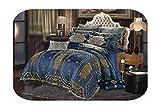 Juego de cama de 4/6/10 piezas de satén de algodón de seda, color azul, algodón, 1, Queen size 10Pcs