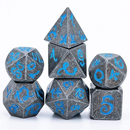 World of Dice Metallwürfel Steinoptik - Pen and Paper Würfel Set, 7 teilig, ideal für Dungeons and Dragons (DND), Das Schwarze Auge (DSA), Shadowrun, Cthulhu und andere RPG