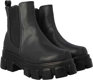 Boots Combat Suela Gruesa Track Para Mujer Negro Con Resorte