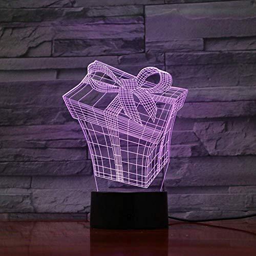YWAWJ 3D-Illusion Nachtlichter LED-Lampen-Box Nachttischlampe Touch Sensor Bunte Dekoration Lampe Kind Kindernachtschreibtischlampe USB-Gebühr