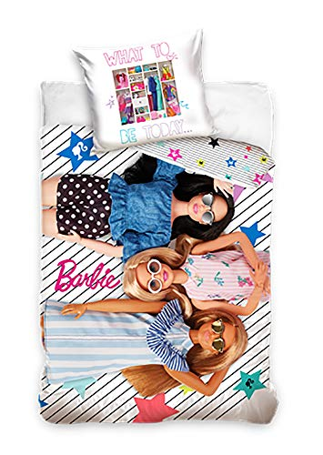 Barbie Juego de funda nórdica para niña de 140 x 200 + 70 x 90 cm de algodón