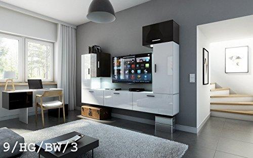 HomeDirectLTD Future 9 Moderne Wohnwand, Exklusive Mediamöbel, TV-Schrank, Neue Garnitur, Große Farbauswahl (RGB LED-Beleuchtung Verfügbar) (9_HG_BW_3, Möbel)