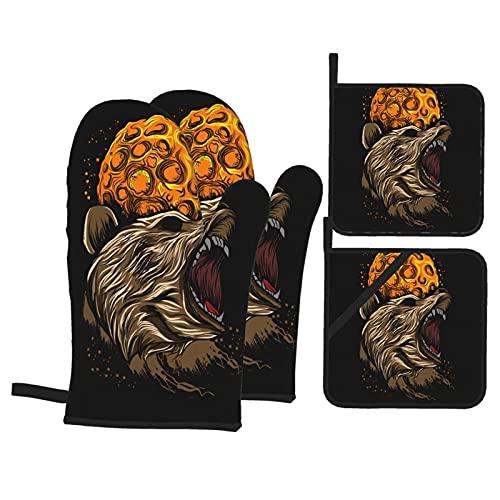 Juego de 4 manoplas y soportes para ollas, pintura digital de un hermoso pavo real, guantes de barbacoa con almohadillas calientes resistentes para cocina y hornear