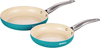 EPPMO Non-Stick PFOA-Free Dishwasher and Oven Safe Skillet, 9.5 and 11 Inch Tiffany Blue Ceramic Open Fry Pan Cookware Set, 2 Piece, Aluminum