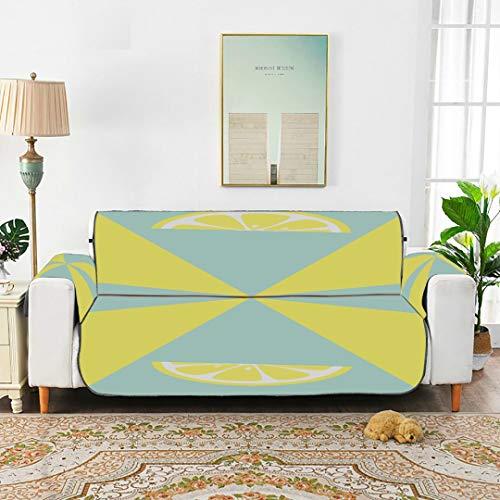 WYYWCY Pastell Mintgrün Gelb Scheibe Zitrone Fit-All Sofakissenbezug Sitz Sofakissen Sofabezug Protector 66'(168 cm) Für 3-Sitzer Maschinenwäsche Arm Chair Cover