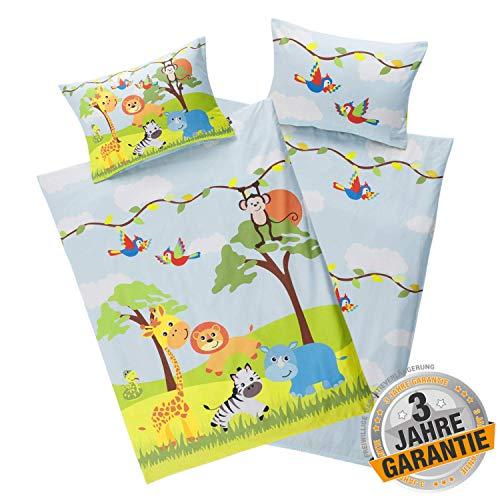 Aminata Kids Kinderbettwäsche Zoo-Motiv 100 x 135 cm + 40 x 60 cm Baumwolle Reißverschluss Dschungel-Tiere, Safari-Motiv, Kinder-Bettwäsche-Set, Giraffe, Löwe & AFFE für Jungen und Mädchen blau gelb