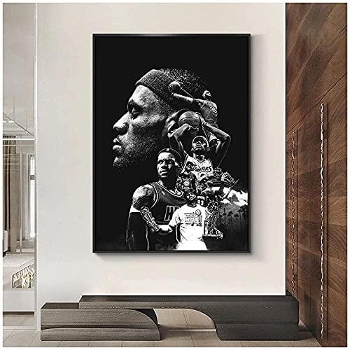 Póster de jugador de baloncesto Lakers Impresiones en lienzo Pintura Moda Decoración del hogar Arte de la pared Imagen modular para sala de estar Impresión en lienzo-40X60Cm Sin marco