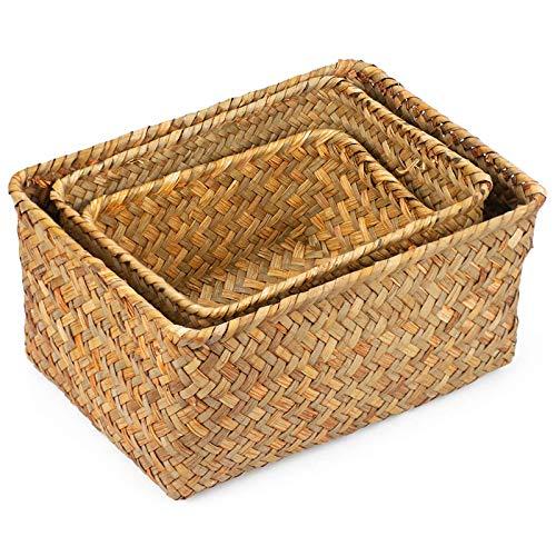 Kamenda Cesta de junco marino hecha a mano en varios tamaños y almacenamiento para decoración.