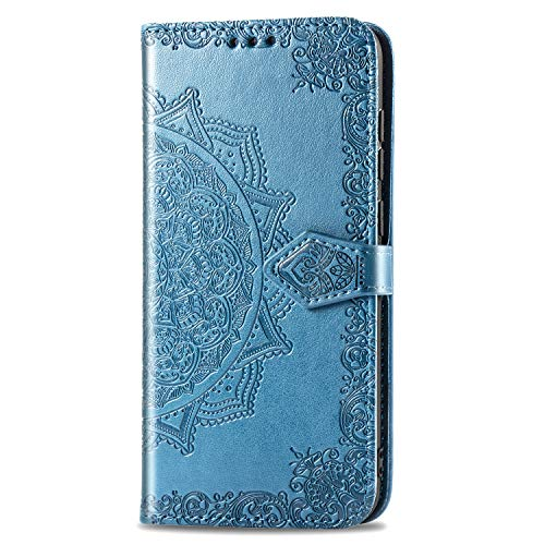 3C Collection Fundas Xiaomi Mi 9 Tapa de Falsa Piel Mandala Azul, Fundas Xiaomi Mi 9 Libro Iman con Tarjetero, Grabado Flores de Funda para Xiaomi Mi 9 Antigolpes Mujer