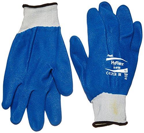 Ansell HyFlex 11-919 Gants oléofuges, protection mécanique, Bleu, Taille 10 (Sachet de 12 paires)