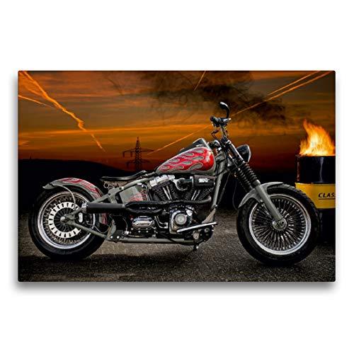 Premium Textil-Leinwand 75 x 50 cm Quer-Format Harley-Davidson Fat Boy Softail Bobber | Wandbild, HD-Bild auf Keilrahmen, Fertigbild auf hochwertigem Vlies, Leinwanddruck von N N