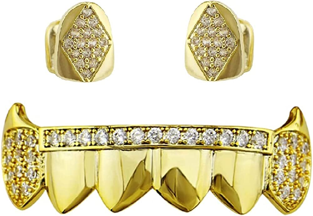 Psivika Gold Plated Shiny Hip Hop Teeth Grillz Caps Vampire Fangs Grillz with Diamonds for Your Teeth for Men and Women, 2 PCS Single Top 6 Bottom