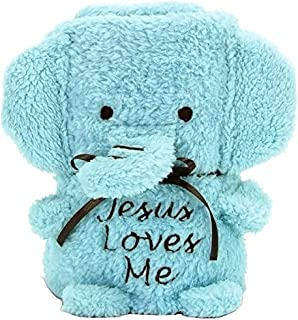 Brownlow Gifts Baby Blankie, Elephant with Jesus Loves Me, Blue