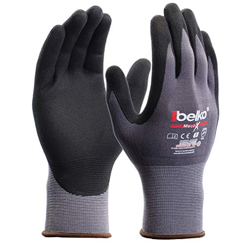 12 Paar Belko MechX Arbeitshandschuhe Schutzhandschuhe Montagehandschuhe Griphandschuhe Gartenhandschuhe Feinarbeiten EN388 - Größe: 9 (L)