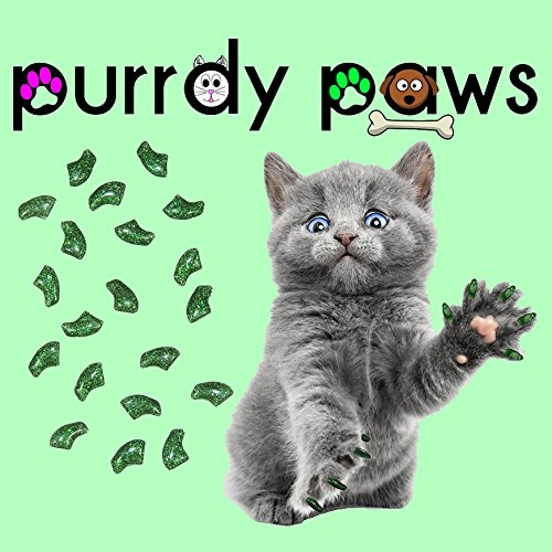Purrdy Paws 40-Pack Soft Nail Caps for Cat Claws Green Glitter Large