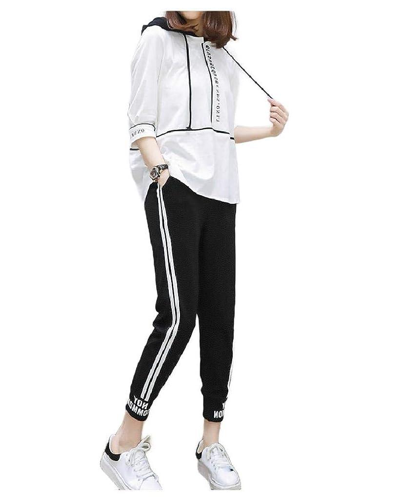 ジャーナルグレートオークカジュアルBeeatree Womens Hoode 2-Piece Short-Sleeve Ankle Pants Loose Sport Tracksuit