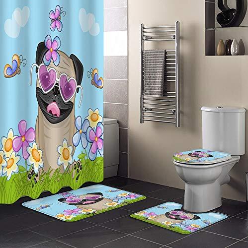 Minyose Mops Hundeblume Lustige Cartoon Duschvorhänge Bad Vorhang Bad Sets Toilettenbezug Matte rutschfeste Waschraum Teppich Set 180 * 180Cm