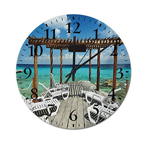 Homesonne Decor Wall Clock Beach Sunbeds Ocean Sea Scenery with Wooden Seem Pier Image Print Retro Quartz Decorative Wall Clock Match Perfectly The Room Decor Blue White and Pale Brown 15.7 Inch