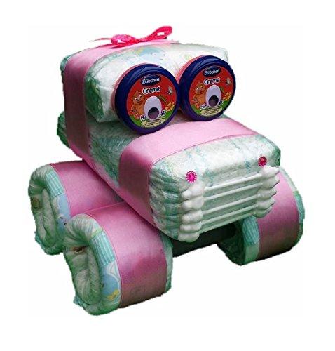 Windel Auto rosa, Windelauto, Windeltorte, Pampers Gr.3, Baby Geburt, Geschenk zum Taufe, Babyparty Mädchen
