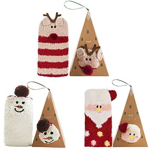 Fascigirl Weihnachten Socken, 3-Paar Erwachsene Frauen Weihnachten niedlichen Muster weichen Stretchy Neuheit Crew Weihnachten Socken