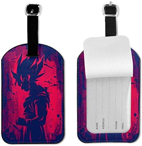 Dragon Ball Z Goku - Etiquetas de Equipaje con Correa Ajustable de Piel para Equipaje o Maletas, Juego de Etiquetas de identificación para Viajes
