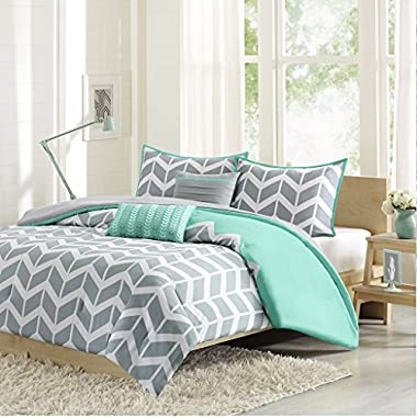 Intelligent Design Nadia King/Cal King Size Bed Comforter Set - Teal, Chevron – 5 Pieces Bedding Sets – Ultra Soft Microfiber Bedroom Comforters