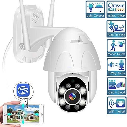H.265 1080p WiFi IP Ptz Kamera, Dual Light Light Speed Dome Kamera im Freien, Audio Sirenen Alarm/Auto Tracking / IP66 wasserdichte CCTV Kamera Yoosee (1080P-12V 2A)