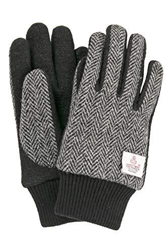 ハリスツイード 手袋 スマホ タッチパネル対応 ジャージ グローブ グレーヘリンボーン Lサイズ