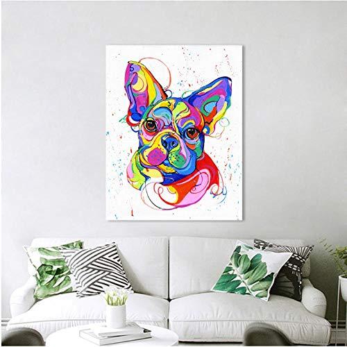 Rjunjie Quadro su Tela Pittura Bulldog Francese Stampa Animale Colorata per Soggiorno Home Decor (70x70 cm Senza Cornice)