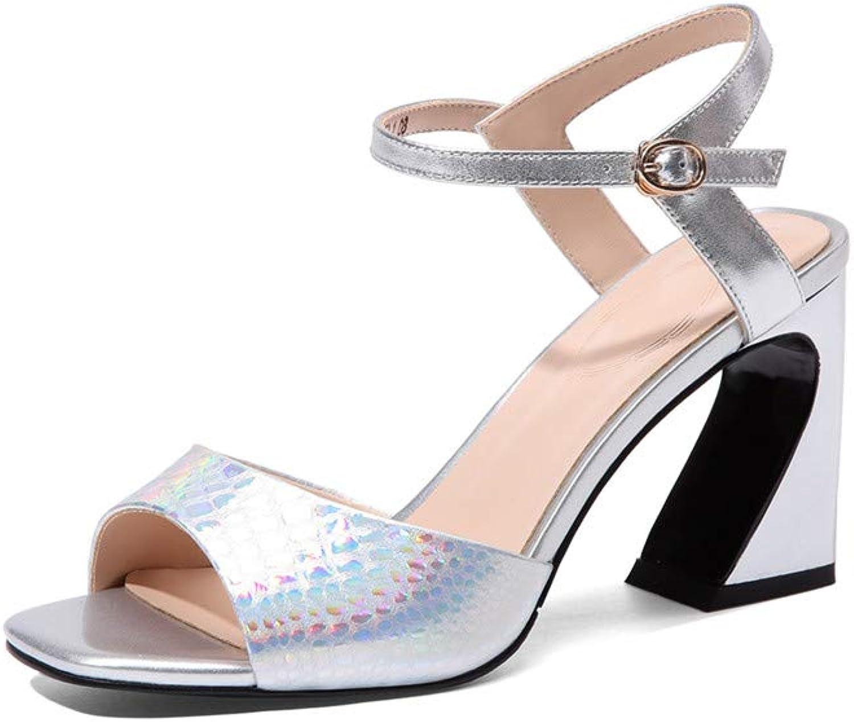 Nine Seven Genuine Leather Women's Square Toe High Chunky Spool Heel Elegant Handmade Concise Buckle Fahsion Sandals
