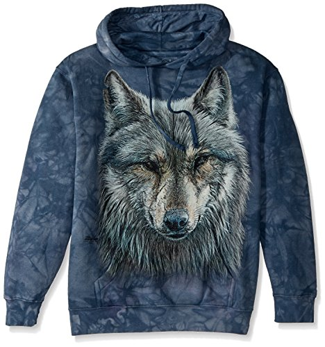 The Mountain Warrior Wolf Adult Hoodie, Grey and Blue, XL